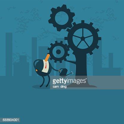 Business,Gear, tree, industry, city