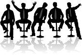 Businessman 2 , black silhouettes, vectors work