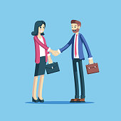 Businessman and businesswoman making a handshake as a sign of cooperation, partnership or agreement. Two employees concluding a successful deal shaking hands vector flat illustration.