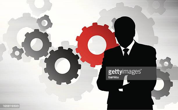 Businessman and gears