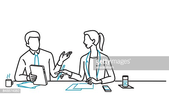 Businessman and woman discussing : Vector Art