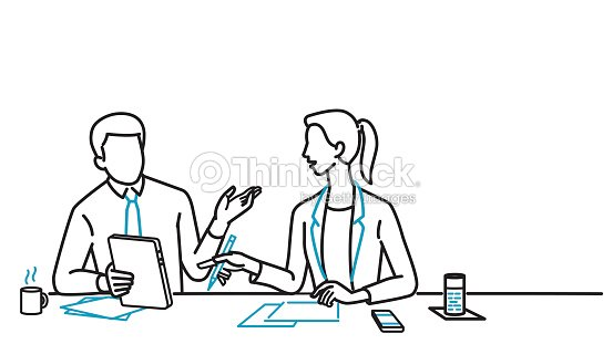 Businessman and woman discussing : stock vector