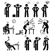 A set of human pictogram reprensenting business businessman poses and action of a stressful workplace. The businessman is confuse, sad, angry, and fed up with his works.