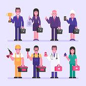 Businessman businesswoman nurse doctor builder. Character set. Vector Illustration