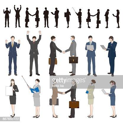 Businessman, Businesswoman : Vector Art