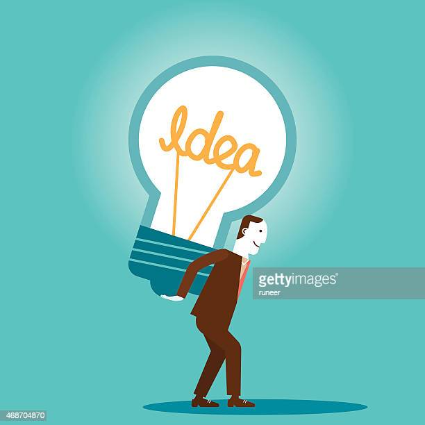 Businessman Carries Big Idea | New Business Concept