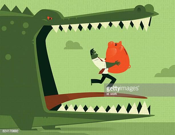 businessman carrying piggy bank