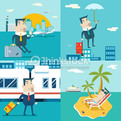 Businessman Cartoon Character Travel Train Ship Airplane Mobile Business Marketing Vector Art