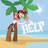 Businessman character lost on desert island. Vector flat cartoon illustration