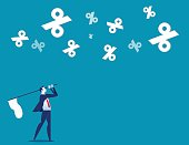 Businessman chasing percentage. Concept business vector illustration.