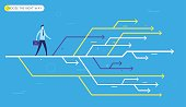 Businessman chooses the right path. Vector illustration Eps10. Success, career