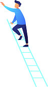 Businessman climbing up career ladder vector illustration. Career promotion and growth strategy, success and career goal, new opportunities and leadership concept. Isolated on white background.
