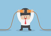 Businessman connecting a electric plug, VECTOR, EPS10