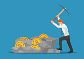 Businessman digging bitcoin in the rock. Digital Currency Mining and Cryptocurrency concept.