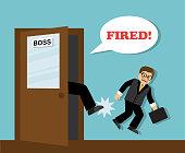 The boss's foot kicks the unnecessary employee-businessman