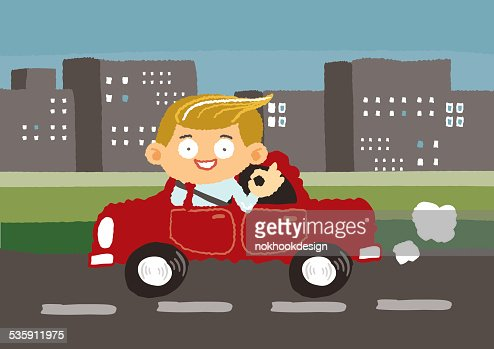 businessman drives car in downtown - freehand drawing vector Illustration : Vector Art