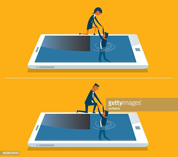Businessman drowning in a digital tablet