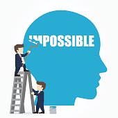 Businessman erasing the word impossible in a big head. Vector illustration.