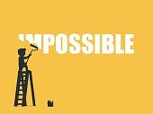 Businessman erasing the word impossible. Vector illustration.