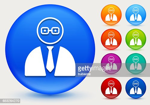 Businessman Face Icon on Shiny Color Circle Buttons : Vector Art