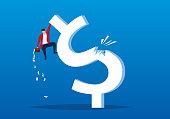 Businessman fell from a sudden broken dollar