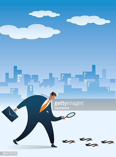 Businessman following the money footprint