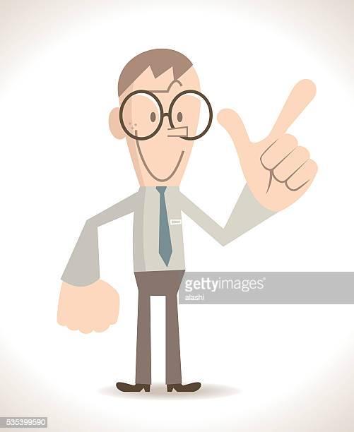 Businessman (skinny nerd) gesturing number 7 ( showing gun hand sign)