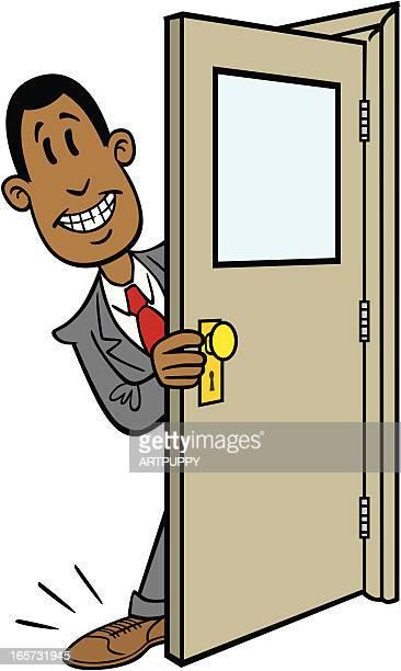 Businessman Getting His Foot in the Door