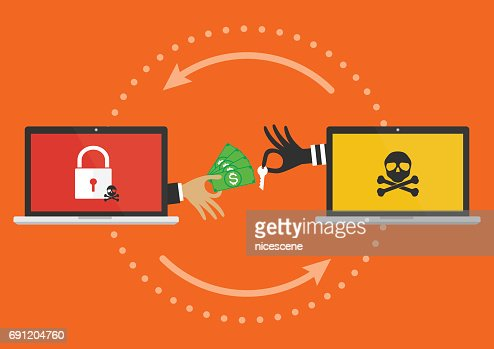 Businessman hand holding money banknote for paying the key from hacker for unlock computer folder got ransomware malware virus computer PC. Vector illustration cybercrime concept. : stock vector