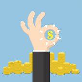 Businessman hand with ok and dollar sign, business deal and financial concept