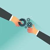 Businessman hands holding cogwheel. Vector illustration.