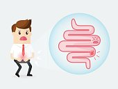 businessman has a stomach ache with intestinal