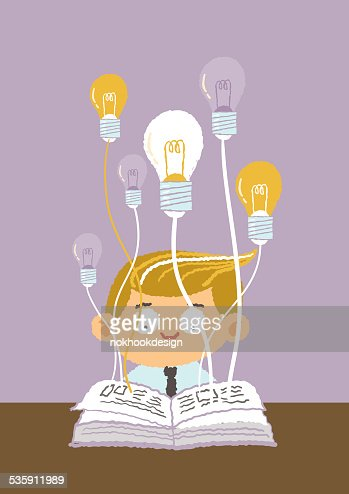 Businessman having a great idea while reading a book : Vector Art