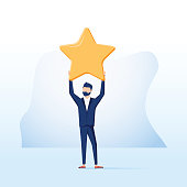Businessman hold a big gold star. Victory, rating. Vector, illustration, flat. Positive star feedback. Victory or classification rating concept. Quality assurance survey.Business Achievement reach