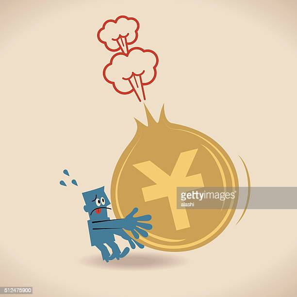 Businessman holding a deflating (exploding) Yuan Currency sign coin