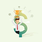 Businessman holding award in dollar and icon set business for successful concepts. Vector illustration