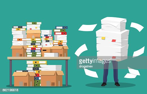 Businessman holds pile of office papers and documents. : stock vector