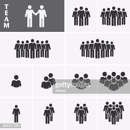 Businessman Icons set. Team Icons. Crowd of people. : Vector Art
