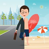 Businessman in suit on city view and on the beach with a surfboard which background is separated into two parts, conceptual of office life and escape from routine work for vacation, cartoon character