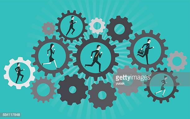 Businessman is running in the cogwheel machine