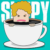 Young businessman is sinking to the bottom of a cup of coffee with a trance. Funny vector concept
