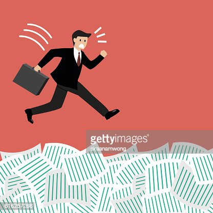 Businessman jump into a lot of documents : Arte vectorial