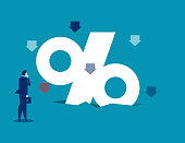 Businessman look at shrinking percent sign. Concept business vector illustration.