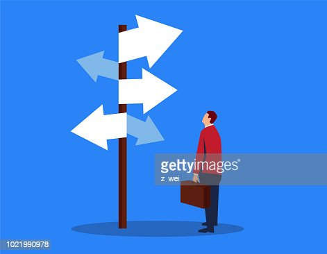 Businessman looking at complicated street sign : stock vector