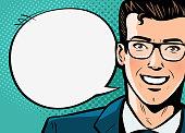 Businessman, man in suit says. Business concept. Pop art retro comic style. Cartoon vector