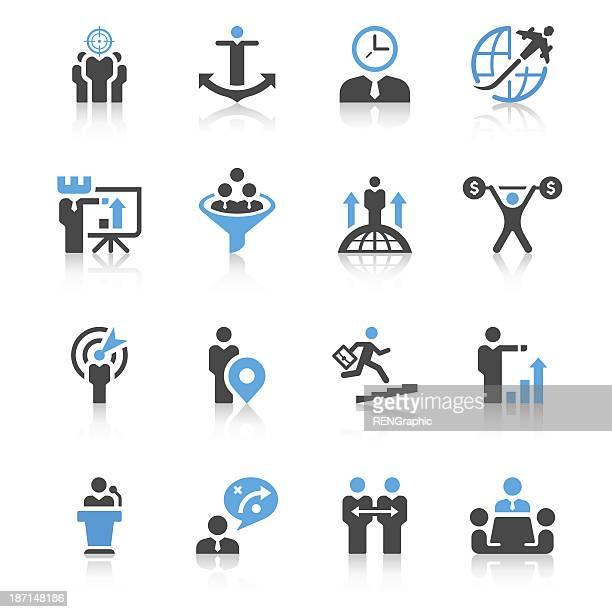 Uomo d'affari & metafora icona Set/conciso serie