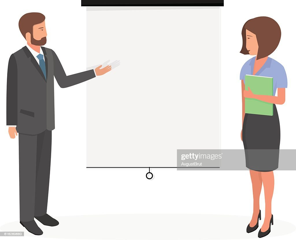 Businessman on a white board. : Vector Art