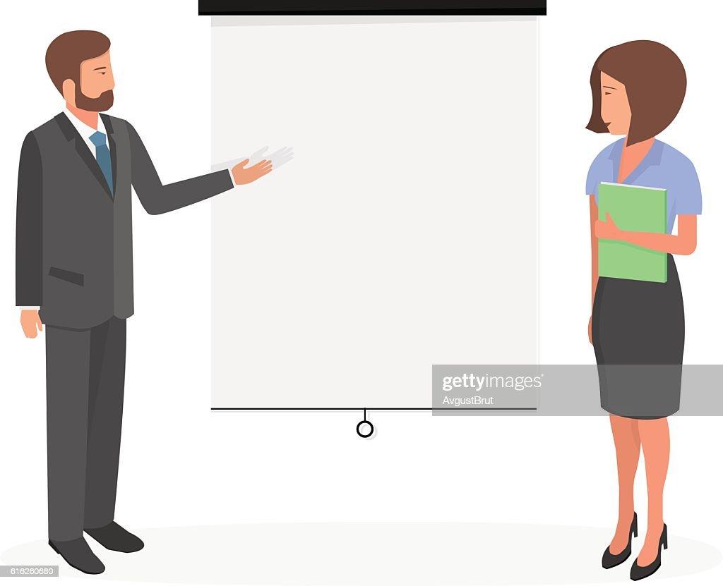 Businessman on a white board. : Arte vectorial