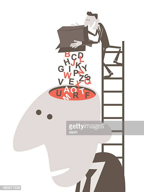 businessman on ladder, pouring English alphabet into man's open head