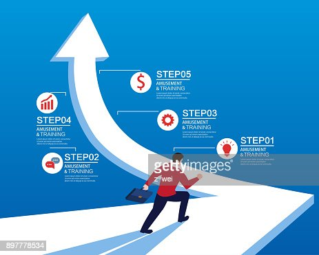 Businessman on the road to success : stock vector